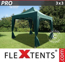 Gazebo rapido 3x3m Verde, incl. 4 tendaggi decorativi