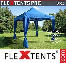 Gazebo rapido 3x3m Blu, incl. 4 tendaggi decorativi