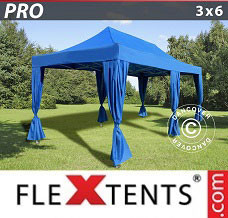 Gazebo rapido 3x6m Blu, incl. 6 tendaggi decorativi