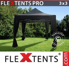 Gazebo rapido 3x3m Nero, incl. 4 tendaggi decorativi