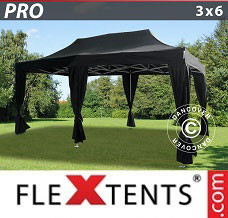 Gazebo rapido 3x6m Nero, incl. 6 tendaggi decorativi